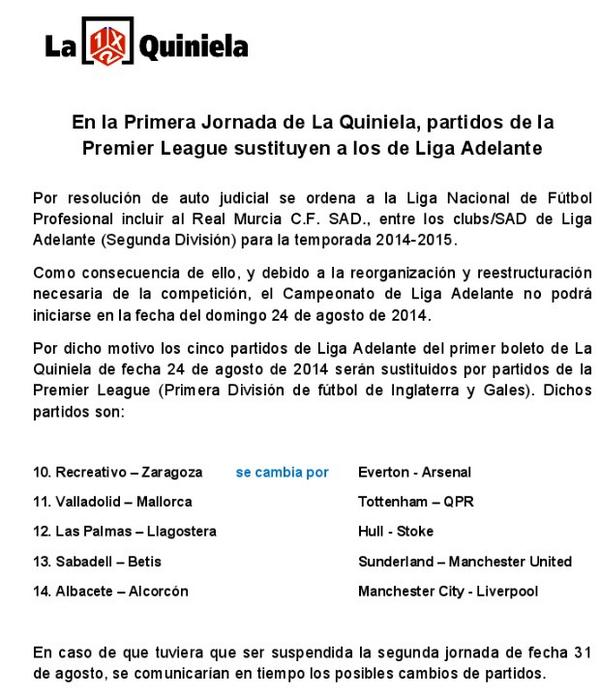 Ojo a esto. La Quiniela da por hecho que la Liga Adelante no empieza el 24 de agosto. http://t.co/C4IltHN0Dz