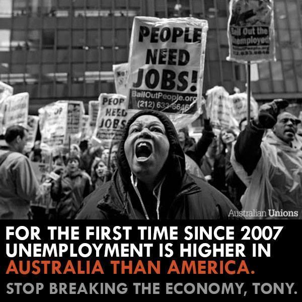 Unemployment the highest in 12 years. This happened under your watch, @TonyAbbottMHR & @JoeHockey. #ausunions #auspol http://t.co/0jatk4iKHz
