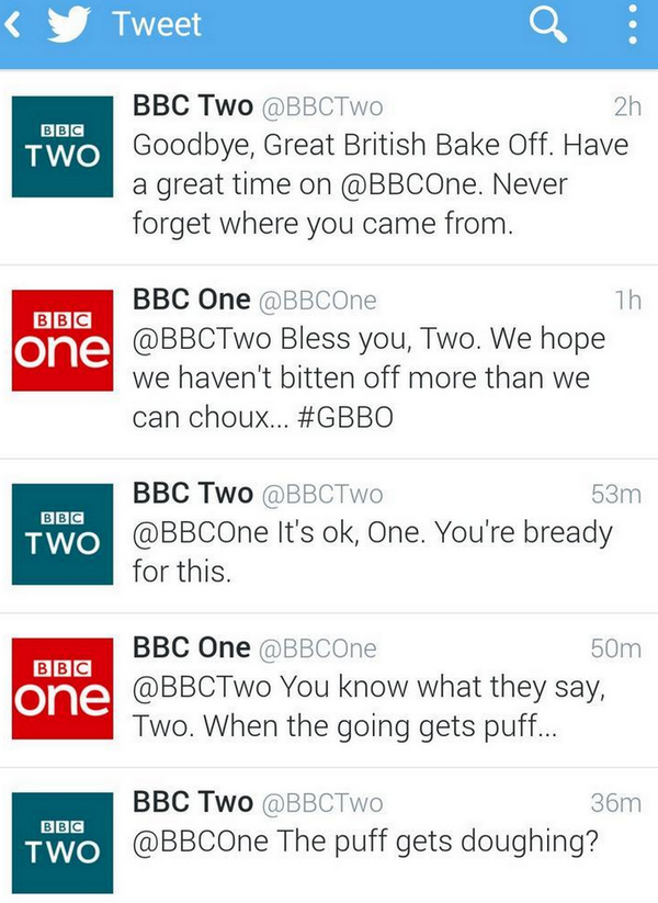 We wish we were this good at puns. Hats off to @BBCOne & @BBCTwo for making social media magic #GBBO http://t.co/IpXbrBOQIM