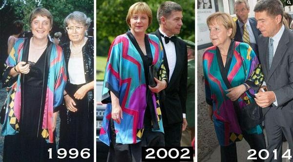 نفس اللبس لها 18 سنة..لأنها لاتهتم بالأمور التافهه اصبحت رئيسة المانيا لو انها تهتم كان صارت تبيع كب كيك بالانستقرام