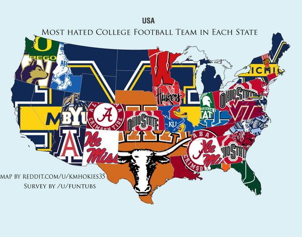 RT Ncsa Most Hated College Football Team By State RedditCFB Tco TbILeveuIJ