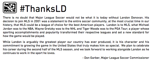 There is no doubt that @MLS would not be what it is today without @LandonDonovan. #ThanksLD http://t.co/FpU5LRgaYz