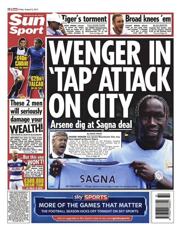 Arsenal boss Arsene Wenger hints that Man City tapped up Bacary Sagna [Sun]