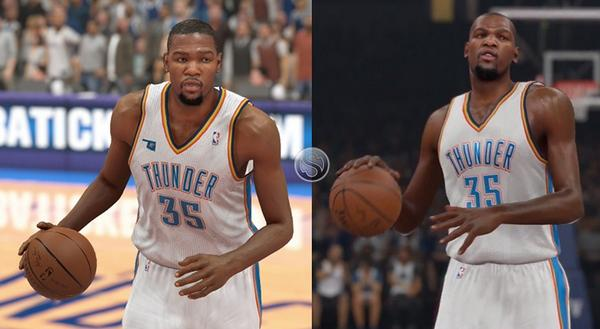 """e1be5dad72ca """" Ronnie2K  """" Steve OS  Kevin Durant in NBA 2K14 (left) vs. NBA 2K15  (right) pic.twitter.com f0r4m1SKuy"""" Looks the same to me."""