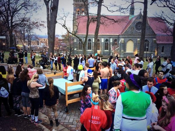 #tbt Bed races @LehighU for #Rivalry149. Crazy to watch & to participate in, AND one of the great campus traditions! http://t.co/o0RuwBnJI4