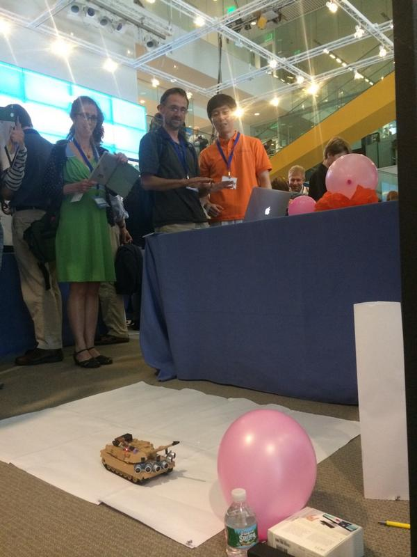 Motion sensor + Scratch + Miniature Tank + Ballon = Way too much fun #ScratchMIT2014 http://t.co/ziQr8Ih9Bn