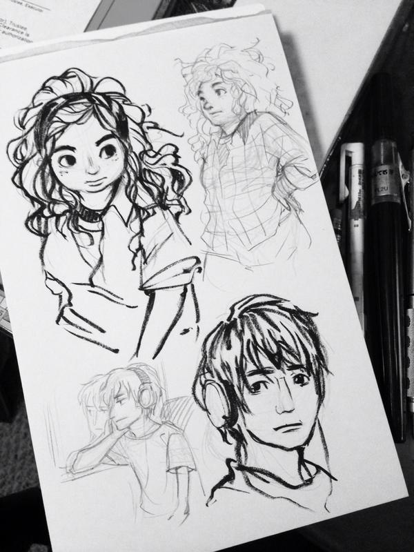 The rest of the sketch page of Eleanor & Park #yafiction #fanart #sketch http://t.co/acljXKeYKi