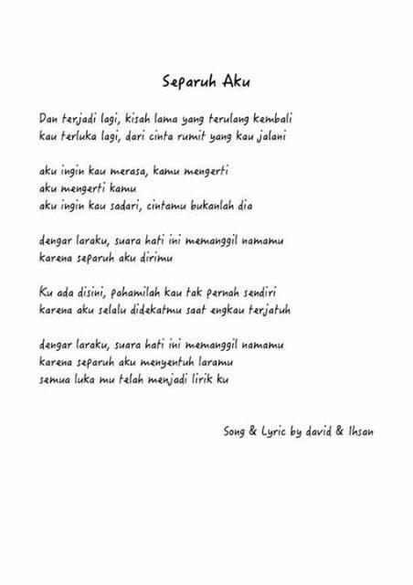 Lirik Lagu Separuhku