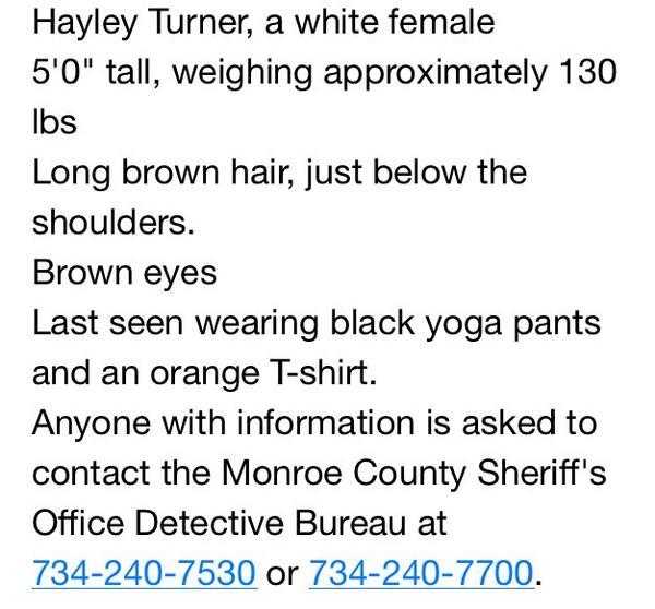 #Breaking: Here are details of critical missing Monroe Co. teen Hayley Turner including law enforcement phone numbers http://t.co/WzHLJeA36n