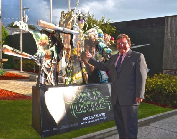 Tupper Lake Mayor Paul Maroun at advance TMNT screening