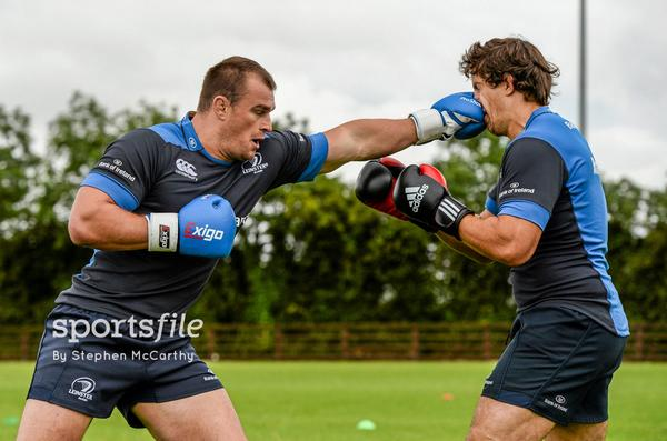 """Sport hurts! """"@sportsfile: Rhys Ruddock lands a left on Mike McCarthy during @leinsterrugby Open Training http://t.co/GFLBV3Z7Ke"""""""