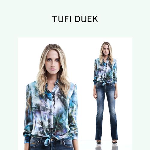 Camisa estampada + jeans é um clássico. Modernize a produção com um nó estratégico! #TufiDuek #Styling #Primavera2015 http://t.co/nxcbbDCxAo