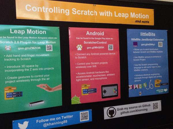 """@mr_isaacs: Controlling scratch with leap motion, android, littleBits @khanning88 #scratchmit2014 http://t.co/Tycke02qrD"""