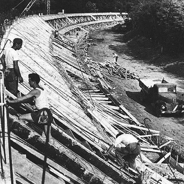 Monza banking under construction