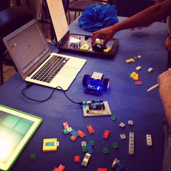 Physical blocks that generate code when scanned into the computer. Mind = Blown! #ScratchMIT2014 #FutureUniversity http://t.co/vVoTKYO9qW