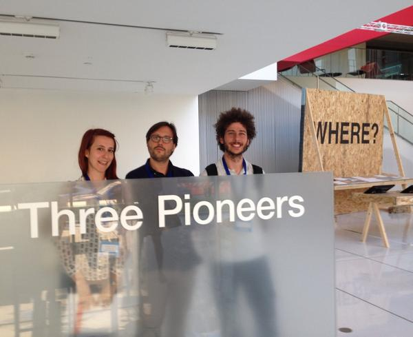 Three pioneers...where??? ;)))) @tarmelop @CoderDojoItalia #ScratchMIT2014 http://t.co/0iKaCOUE5q