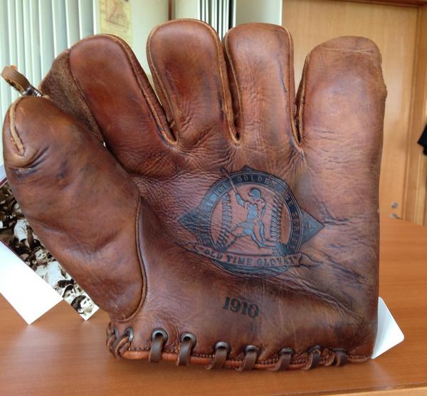 "New 'antique' Shoeless Joe baseball mitt in shop at Missouri History Museum. ""Say it ain't so, Joe!"" http://t.co/tZfyeiWjXx"