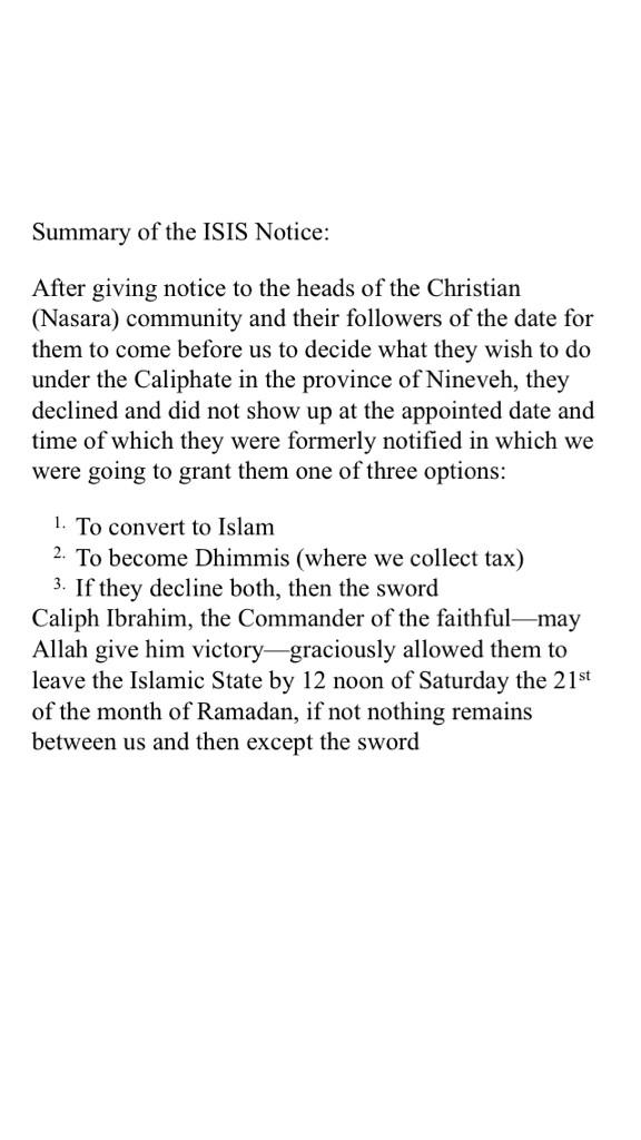 """@JoshYoussef: English translation of flyer given to Christians in #Iraq by #ISIS http://t.co/bn4k5mL8CD"""