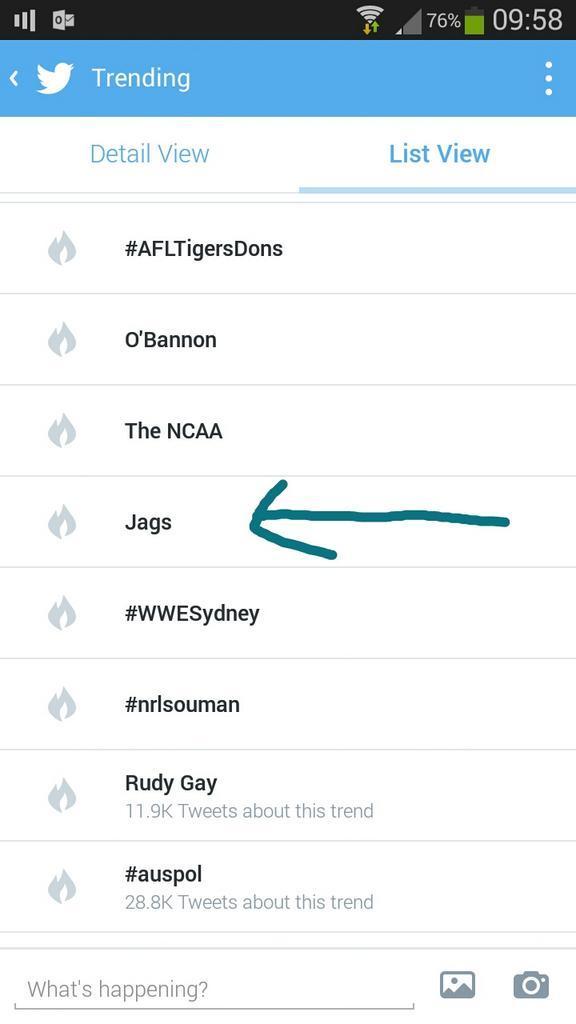 JAGUARS trending Down Under!!!!  @Jaguars #twitter #tealprideworldwide http://t.co/9rffqwlIKw