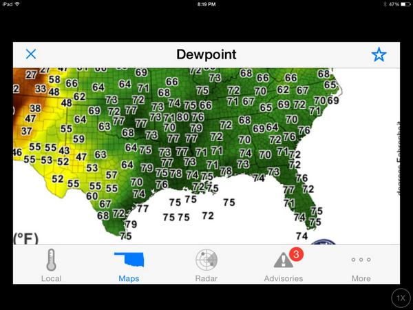 Rick Smith on Twitter Nasty dew points across south central US