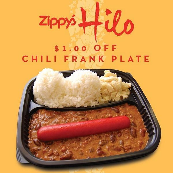 Zippy S Restaurants On Twitter Update Zippy S Hilo Fast Food Counter Is Open Tonight At 6 00pm Chili Frank Plate Offer Available Only At Zipp Http T Co Mz2waromcs