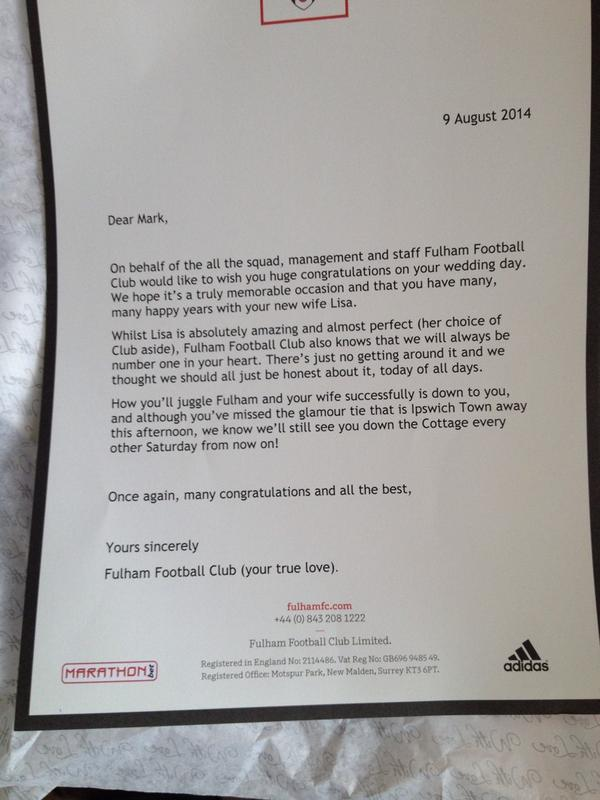 Fulham Fan Receives Letter Of Wedding Congratulations From The