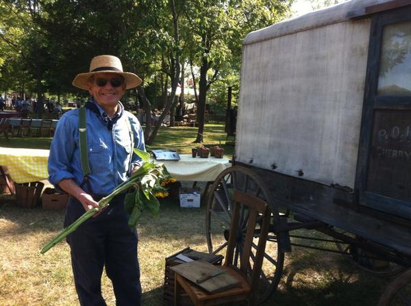 Ed Szapacs cuts sunflowers as a hucksters for the Goschenhoppen Folk Festival's MarketWagon. Today from 10 to 6. http://t.co/mJOyvx03Qt