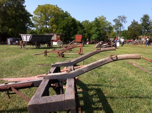 The farm equipment is all laid out the the Goschenhoppen Folk Festival. http://t.co/CiyfOYiJqe