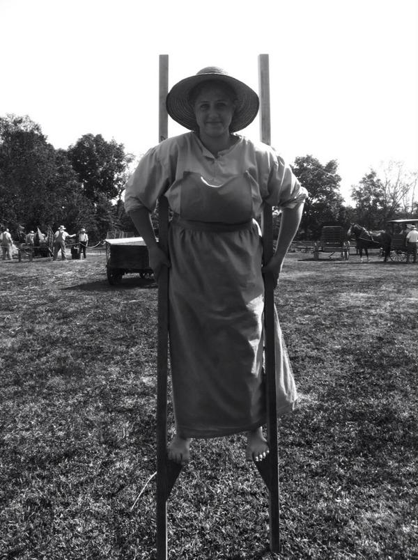 Helen Spudis, 16, came all the way from Tunkhannock, Wyoming Co. To be a stilt walker @ Goschenhoppen Folk Festival. http://t.co/9VZ0rbIZPQ