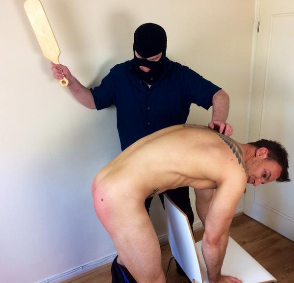 Guy gets spanked naked