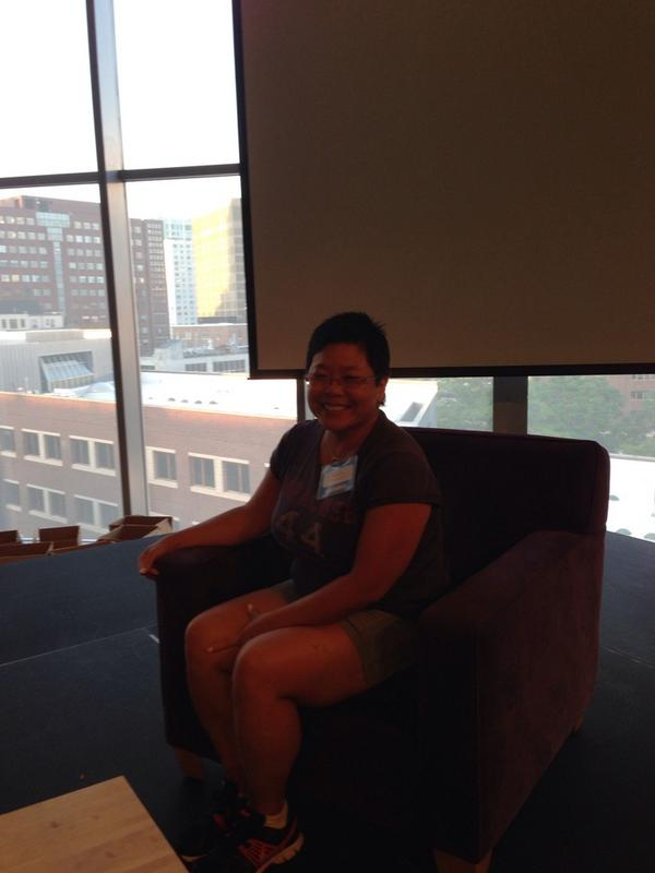 .@catc937092 sitting in the Mitch chair ;) @mres #ScratchMIT2014 http://t.co/kNPJ31rEXf