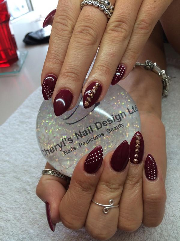 Cheryls Nail Design On Twitter Lush N Rich Burgundy With Rose Gold