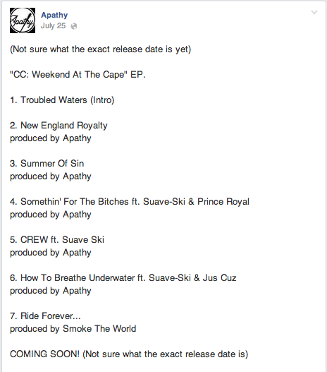 @ApathyDGZ tracklist for CC: Weekend At The Cape EP http://t.co/gv8pyqG7zO