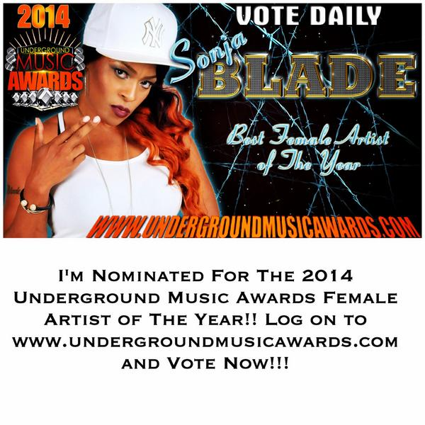 @DjKingAssassin I'M NOMINATED FOR THE 2014 UMA FEMALE ARTIST OF THE YEAR!! VOTE NOW! http://t.co/znGKA09X4I http://t.co/FP7gachcX0 RT