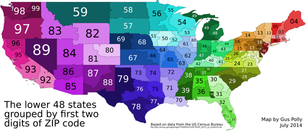 Amazing Maps on Twitter The US grouped by first two ZIP code