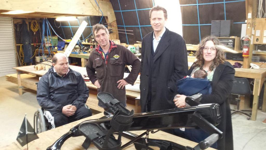 Phil,  Clem,  Susanne and Paige with the Youbike,  designed in NZ to help with rehabilitation. http://t.co/16RFQBPEgc