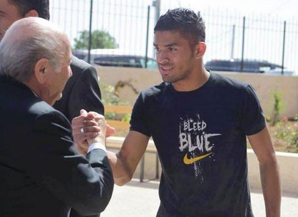 Footballer Mohammad Ahmad al-Qatari, pictured meeting Sepp Blatter. The 20-y-o was shot dead by Israeli forces Friday http://t.co/4TyZv3Flc0