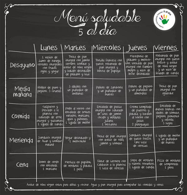 5 al d a on twitter buenosd as hoy os dejamos un men for Comida saludable para toda la semana