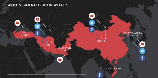 """@2morrowknight: Countries who block Twitter, Facebook, YouTube. http://t.co/igbV3VmDSi http://t.co/KRPjzEuVUy"" Silk Road of Censorship..."