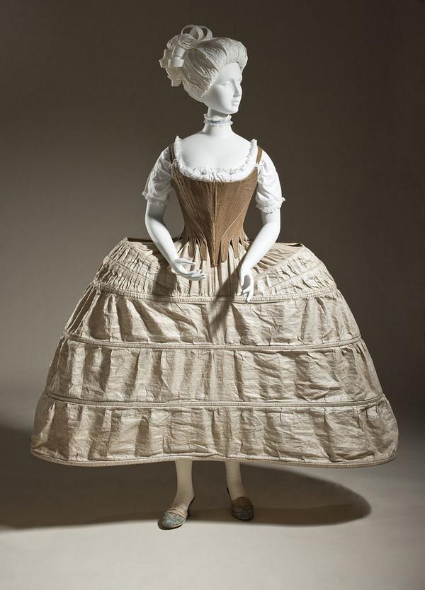 1780年頃、イングランド、ドレスの下に着用するコルセットとパニエ、ロサンゼルスカウンティ美術館所蔵。 ロココ期には上半身の細さを強調するシルエットが好まれ、木や籐の枠でできたパニエでスカートを左右に大きく張り出させた。