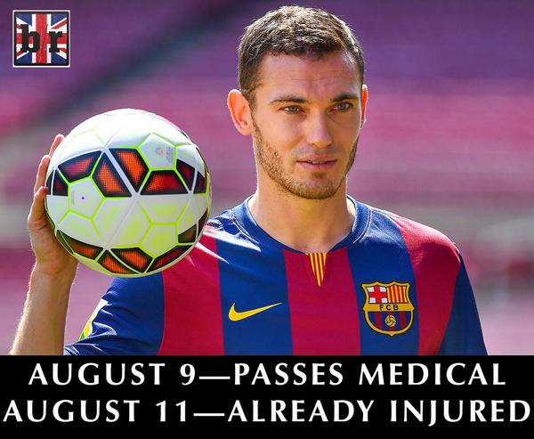 FC Barcelona reveal that Thomas Vermaelen has a thigh injury, out for unknown period