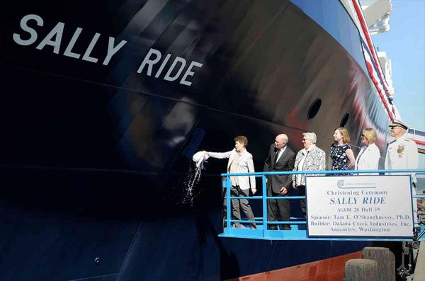 The @USNavy honored America's first woman in space on Saturday, christening the #RVSallyRide: http://t.co/3Q6tAeofKH http://t.co/Q2oD9xUXFP