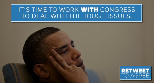 "John Boehner on Twitter: ""RT to agree: It's time for President Obama to work WITH Congress to deal with the tough issues. http://t.co/aASvH7RpQe"""