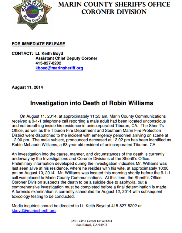 BREAKING: Robin Williams has died of an apparent suicide, according to the Marin County Sheriff's Office. http://t.co/l0S15ppw14