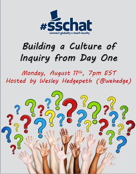 Welcome to the August 11th edition of #sschat -- Building a Culture of Inquiry from Day 1! Please introduce yourself. http://t.co/BgQ6vpMgkV