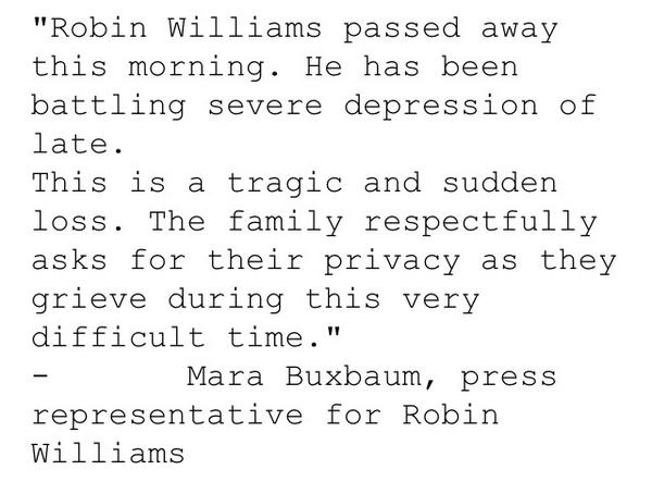 Shocked and saddened to hear about @robinwilliams passing. Press rep statement here: #RIP #WhatDreamsMayCome http://t.co/9Q6tiBQTD9