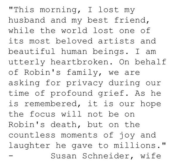 More on passing of @robinwilliams from his widow: and more to come on @NBCLA http://t.co/v0aH3IcFKB