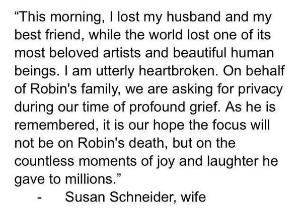 BREAKING: Statement from @robinwilliams wife on his apparent suicide at age 63 #RIPRobinWilliams http://t.co/2GQG0x7qwU