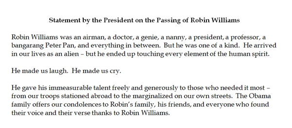 "Pres. Obama on the passing of Robin Williams: ""He was one of a kind"" - http://t.co/9qBy6A32tF http://t.co/UWQUJn9hpd"
