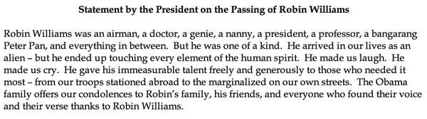 Statement from @BarackObama @WhiteHouse on death of Robin Williams http://t.co/UwzEo1BmmZ